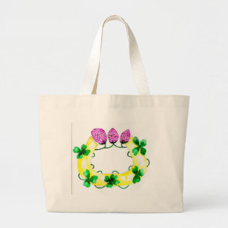 Horseshoe with Clover Large Tote Bag