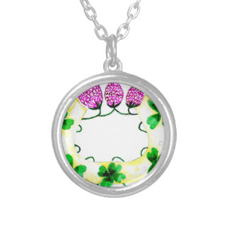 Horseshoe with Clover Silver Plated Necklace