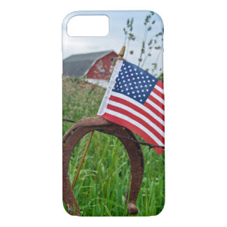 horseshoes and American flag on fence Case-Mate iPhone Case