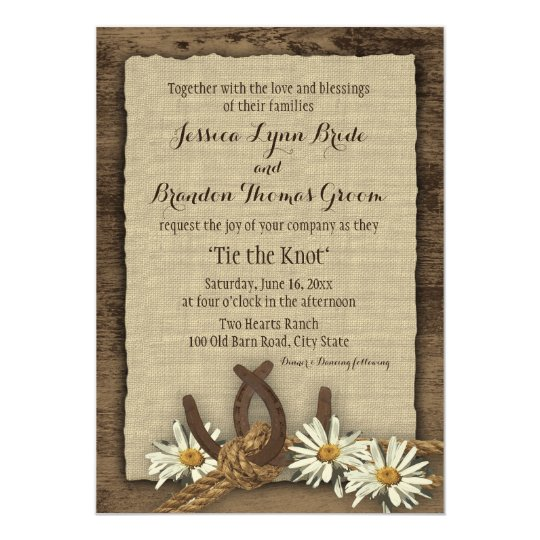 Horseshoes and Daisies Rustic Burlap Card