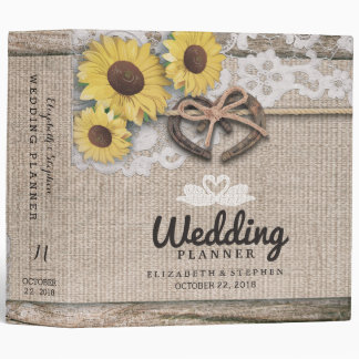 Horseshoes Burlap Lace Sunflowers Wedding Planner 3 Ring Binder