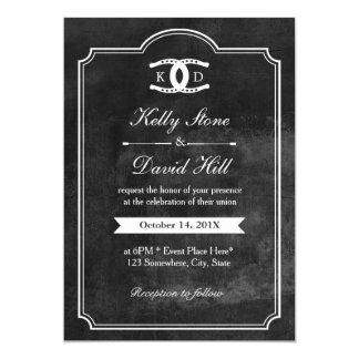 "Horseshoes Initials Chalkboard Equine Wedding 5"" X 7"" Invitation Card"