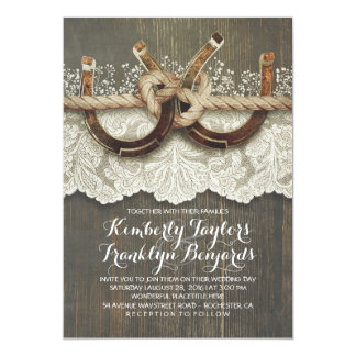 Horseshoes Lace Wood Baby's Breath Rustic Wedding Card