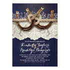 Horseshoes Lace Wood Navy Rustic Wedding Card