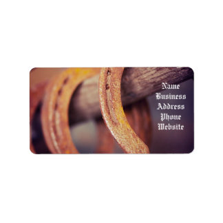 Horseshoes on Barn Wood Cowboy Country Western Label