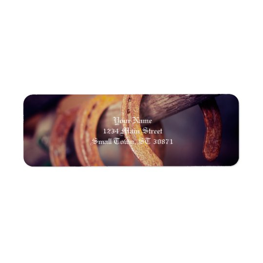 Horseshoes on Barn Wood Cowboy Country Western Return Address Label