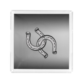 Horseshoes on Silver Gradient Perfume Tray