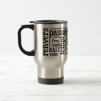 Horsey-Girl's Dressage Terms Travel Mug in Black