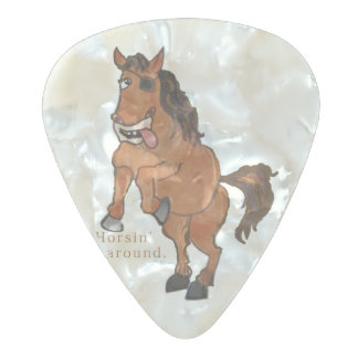 Horsin' around pearl celluloid guitar pick