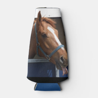 Horsing around - cheeky chestnut horse. bottle cooler