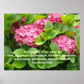 Hortensias roses avec l'écriture sainte poster
