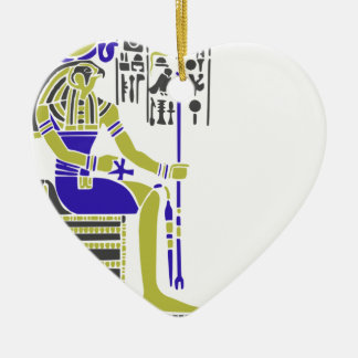 Horus the Hawk Egyption Heiroglyph Ceramic Heart Ornament