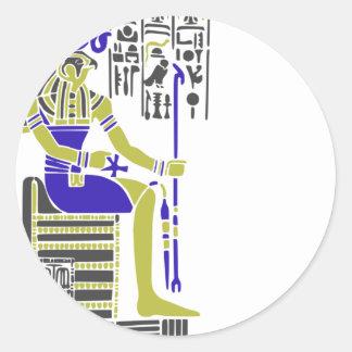 Horus the Hawk Egyption Heiroglyph Classic Round Sticker