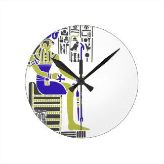 Horus the Hawk Egyption Heiroglyph Round Clock