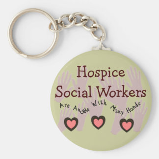 """Hospice Social Workers """"Angels With Many Hands"""" Basic Round Button Keychain"""