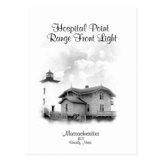 Hospital Point Range Front Light - Massachusetts Postcard