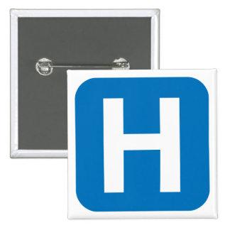 hospital symbol 2 inch square button