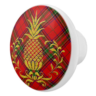 Hospitality Pineapple and Stewart Tartan Ceramic Knob