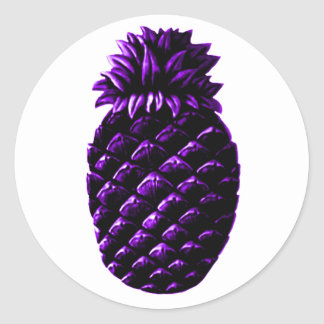 Hospitality Pineapple Purple The MUSEUM Zazzle Gif Classic Round Sticker