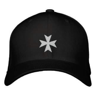 Hospitallers Black Embroidered Cross Hat Embroidered Baseball Cap