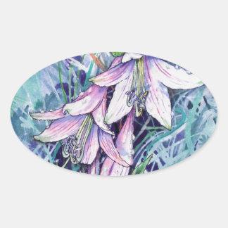Hosta in bloom oval sticker
