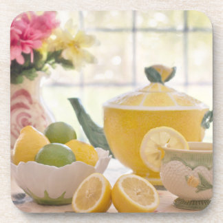 Hot Afternoon Tea with Fresh Lemons Coaster