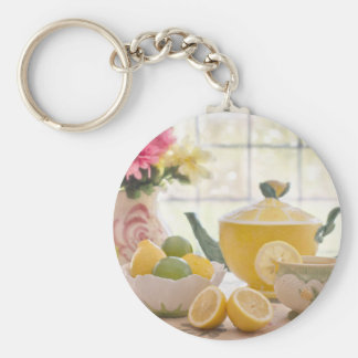 Hot Afternoon Tea with Fresh Lemons Keychain