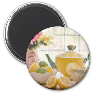 Hot Afternoon Tea with Fresh Lemons Magnet