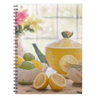 Hot Afternoon Tea with Fresh Lemons Notebooks
