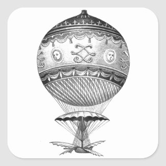 Hot Air Ballon Steampunk Square Sticker