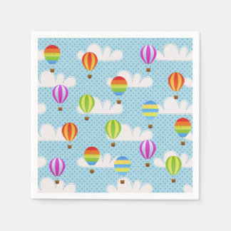 Hot Air Ballons in Cloudy Dotty Sky Paper Napkin