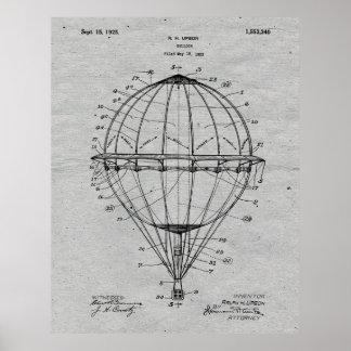 Hot Air Balloon 1925 Patent Art Poster Grey Paper