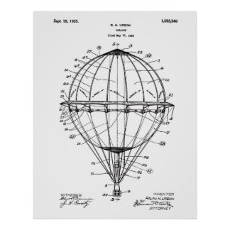 Hot Air Balloon 1925 Patent Art Poster White