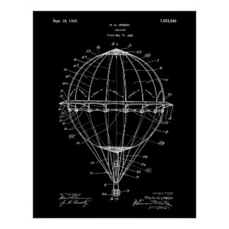 Hot Air Balloon 1925 Patent Poster Black