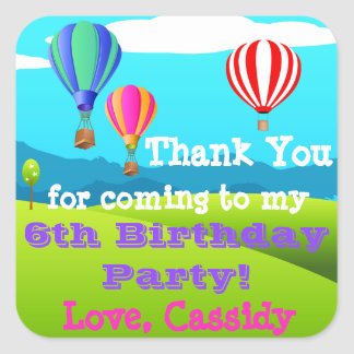 Hot Air Balloon 6th Birthday Party Favor Sticker 2