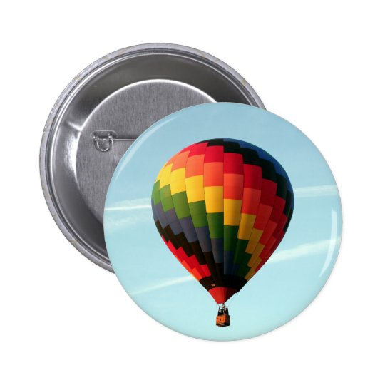 Hot air balloon aloft 2 inch round button