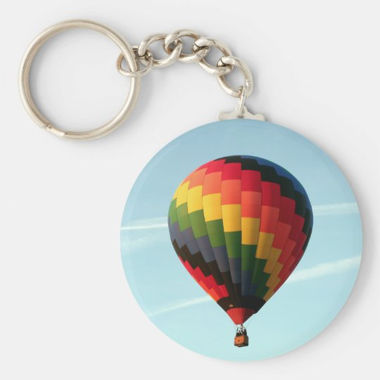 Hot air balloon aloft basic round button keychain