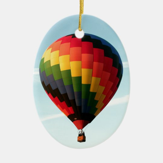 Hot air balloon aloft ceramic oval ornament