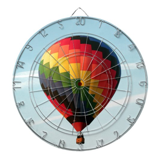 Hot air balloon aloft dartboard with darts