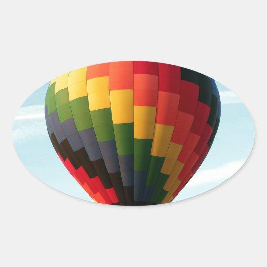 Hot air balloon aloft oval sticker