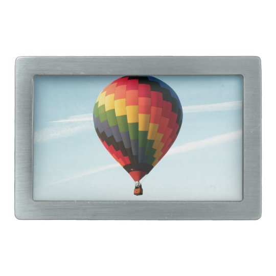 Hot air balloon aloft rectangular belt buckle