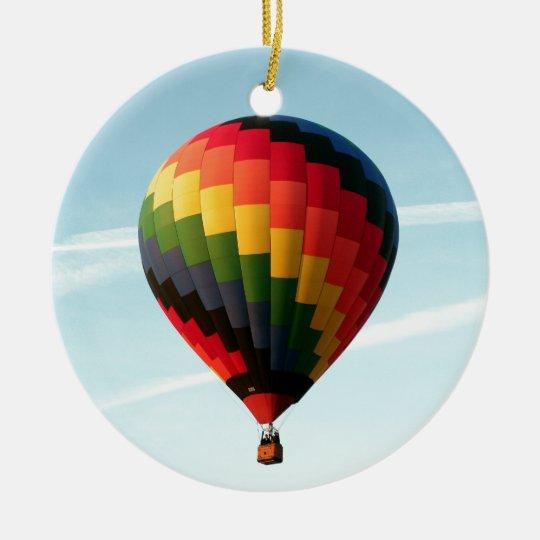Hot air balloon aloft round ceramic ornament