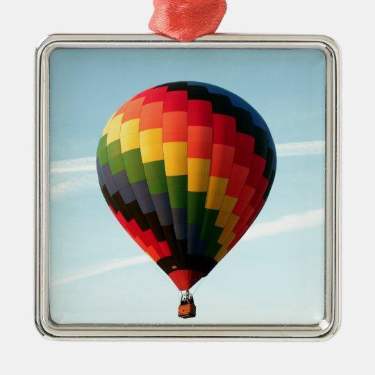 Hot air balloon aloft Silver-Colored square ornament
