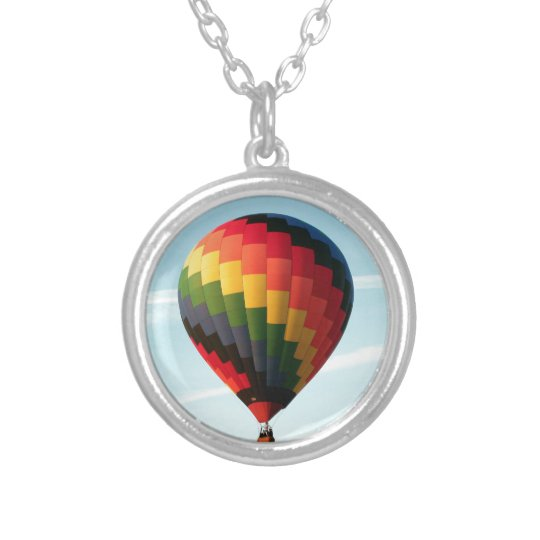Hot air balloon aloft silver plated necklace