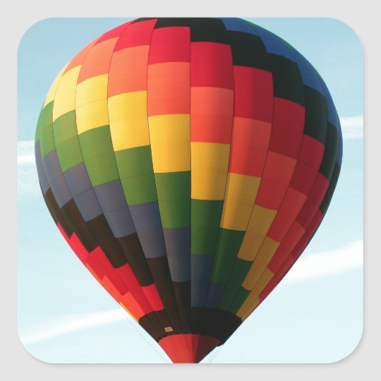 Hot air balloon aloft square sticker