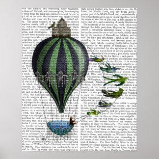 Hot Air Balloon and Birds Poster