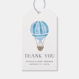 Hot Air Balloon Baby Shower Favor Tags | Blue Pack Of Gift Tags
