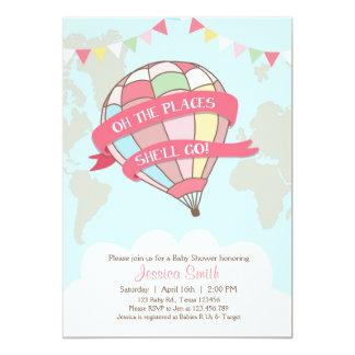 Hot air balloon baby shower invitation pink Girl