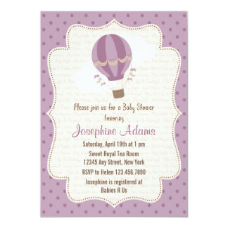 Hot Air Balloon Baby Shower Invitation Purple