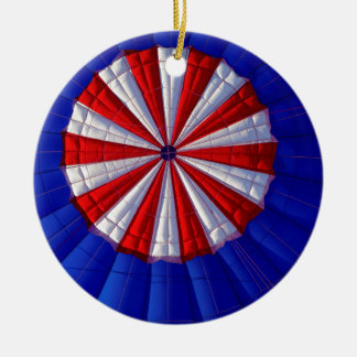 Hot Air Balloon Ballooning Red White Blue Ceramic Ornament